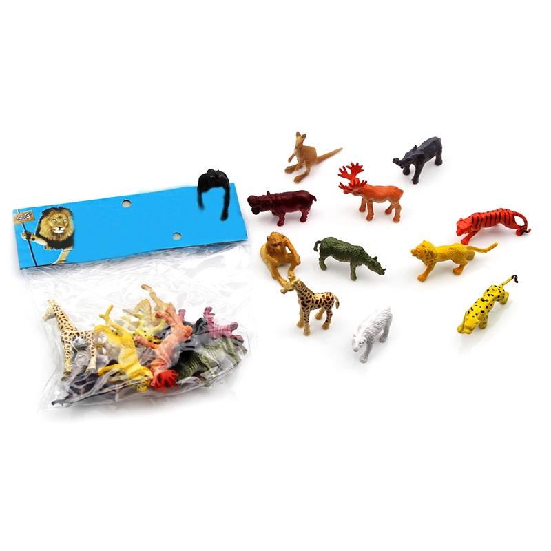 12x Animal Jungle Wild Tiger Lion Elephant Leopard Kangaroo Model Playset Toys