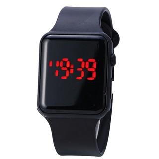 Đồng hồ nam nữ unisex dạng táo dây nhựa đen