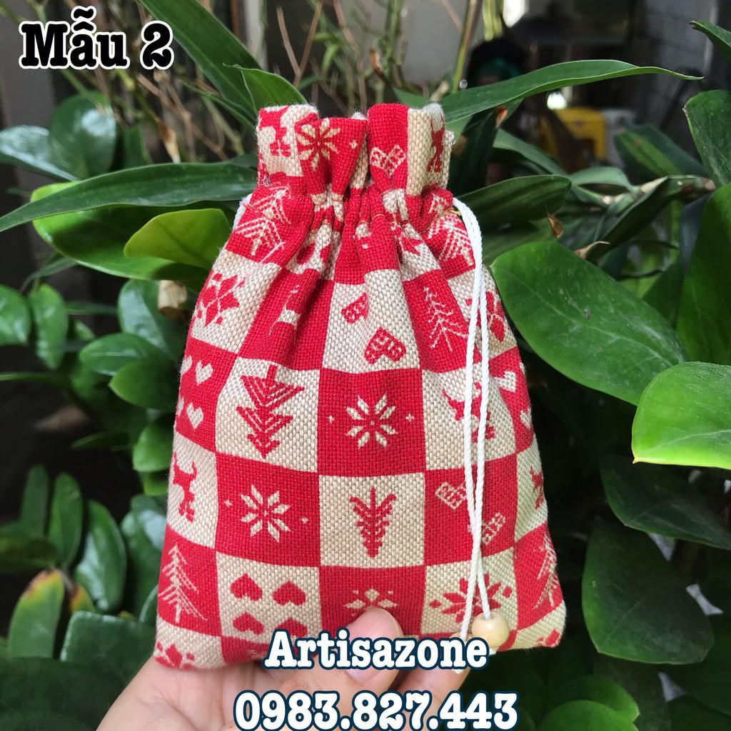 Túi vải dây rút họa tiết mini, kích thước: 10cm x 14cm (Vải canvas) - 01 chiếc - (Đọc kỹ mô tả sản phẩm)