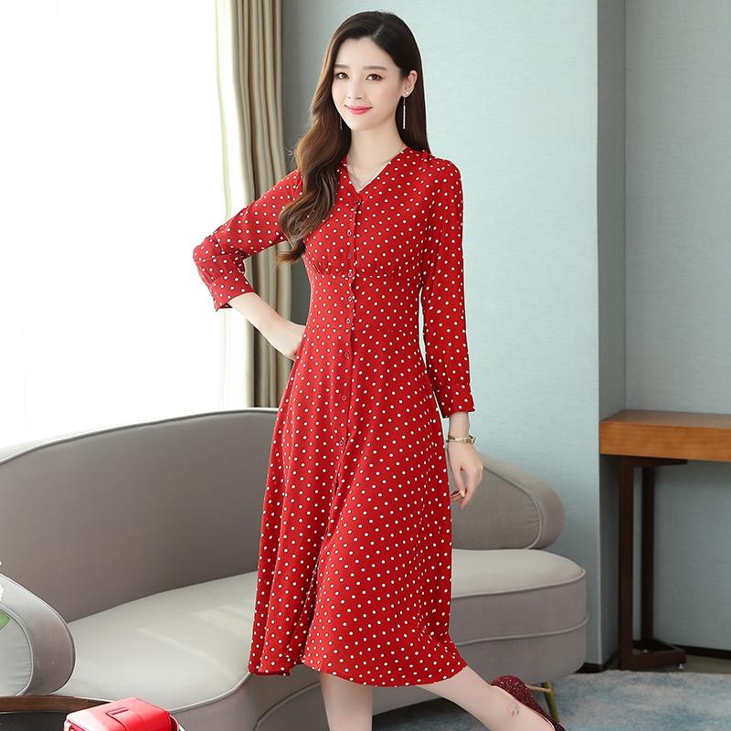Đầm dài tay cổ chữ V họa tiết chấm bi thời trang Hàn Quốc cho nữ - 22537429 , 2608501351 , 322_2608501351 , 401000 , Dam-dai-tay-co-chu-V-hoa-tiet-cham-bi-thoi-trang-Han-Quoc-cho-nu-322_2608501351 , shopee.vn , Đầm dài tay cổ chữ V họa tiết chấm bi thời trang Hàn Quốc cho nữ