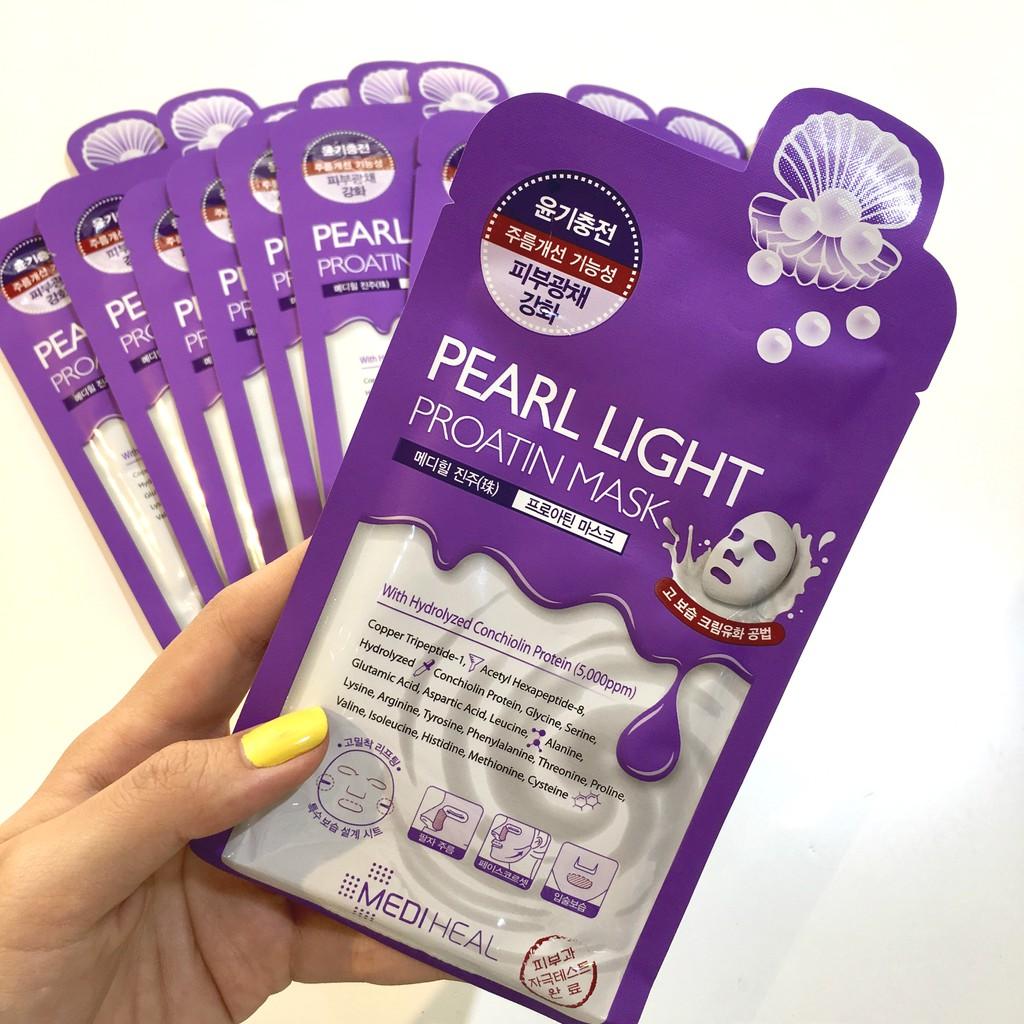 Mặt Nạ Ngọc Trai Giúp Trắng Da Mediheal Pearl Light Proatin Mask tím