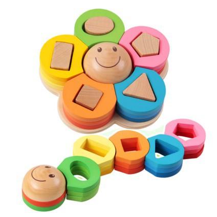 Bộ xếp chồng hình hoa bằng gỗ cho bé học màu sắc, hình dạng