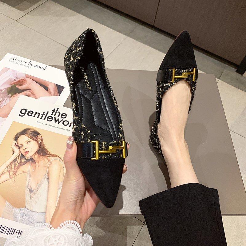 Giày Búp Bê Đế Mềm Phối Khóa Kim Loại Xinh Xắn Cho Nữ