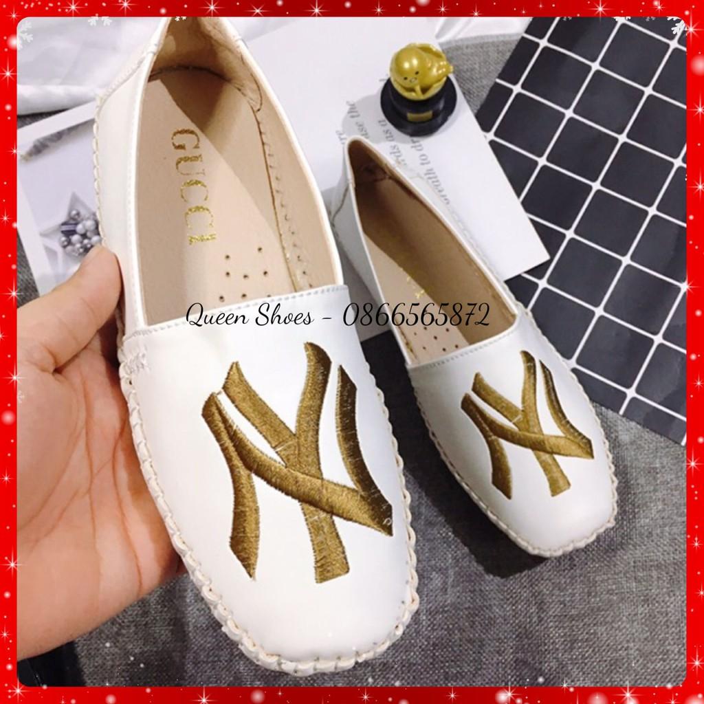 Giày lười nữ, giày bệt nữ đế bằng mũi tròn thêu chữ NY khâu viền chắc chắn