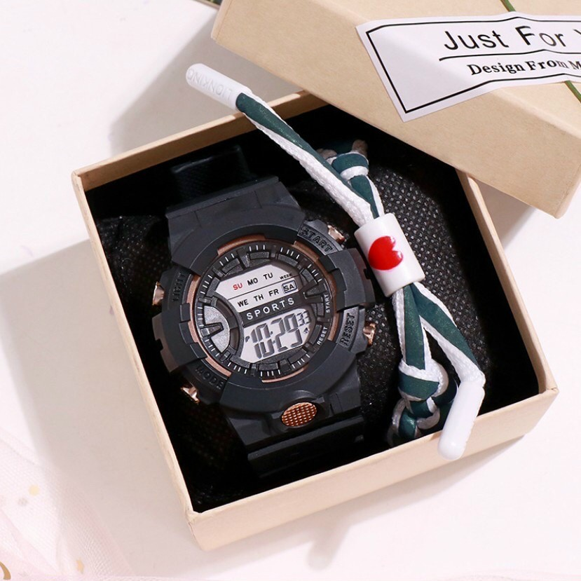 Đồng hồ điện tử nam nữ Sport Sp2 dây hoa cúc mặt tròn 12zxc
