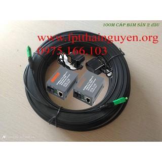 Combo 150m cáp quang 1fo bấm sẵn 2 đầu FC + 1 cặp converter htb-3100ab