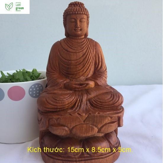 Tượng Phật Thích Ca, Tượng Phật tổ, Tượng phật như Lai, Tượng phật gỗ Hương: Cao 15cm x 8cm x 5cm – Luxi Green