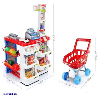 Đồ chơi quầy siêu thị kèm xe đẩy 668-05 hàng chuẩn
