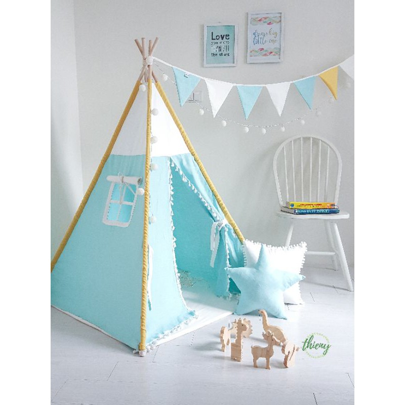 Lều vải cho bé xanh ngọc vải linen cotton 100% cọc gỗ Lều Thiên Ý cao cấp