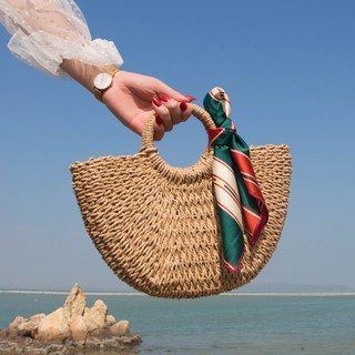 Túi cói hình bán nguyệt, có dây đeo chéo kiểu dáng Vintage, có lớp lót trong rộng rãi T324