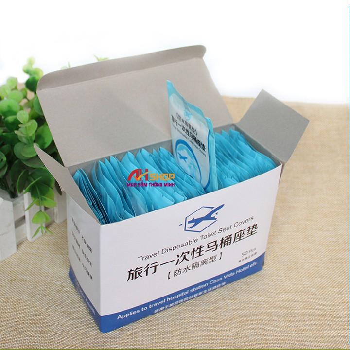 50 Miếng giấy lót bồn cầu toilet dùng 1 lần vệ sinh