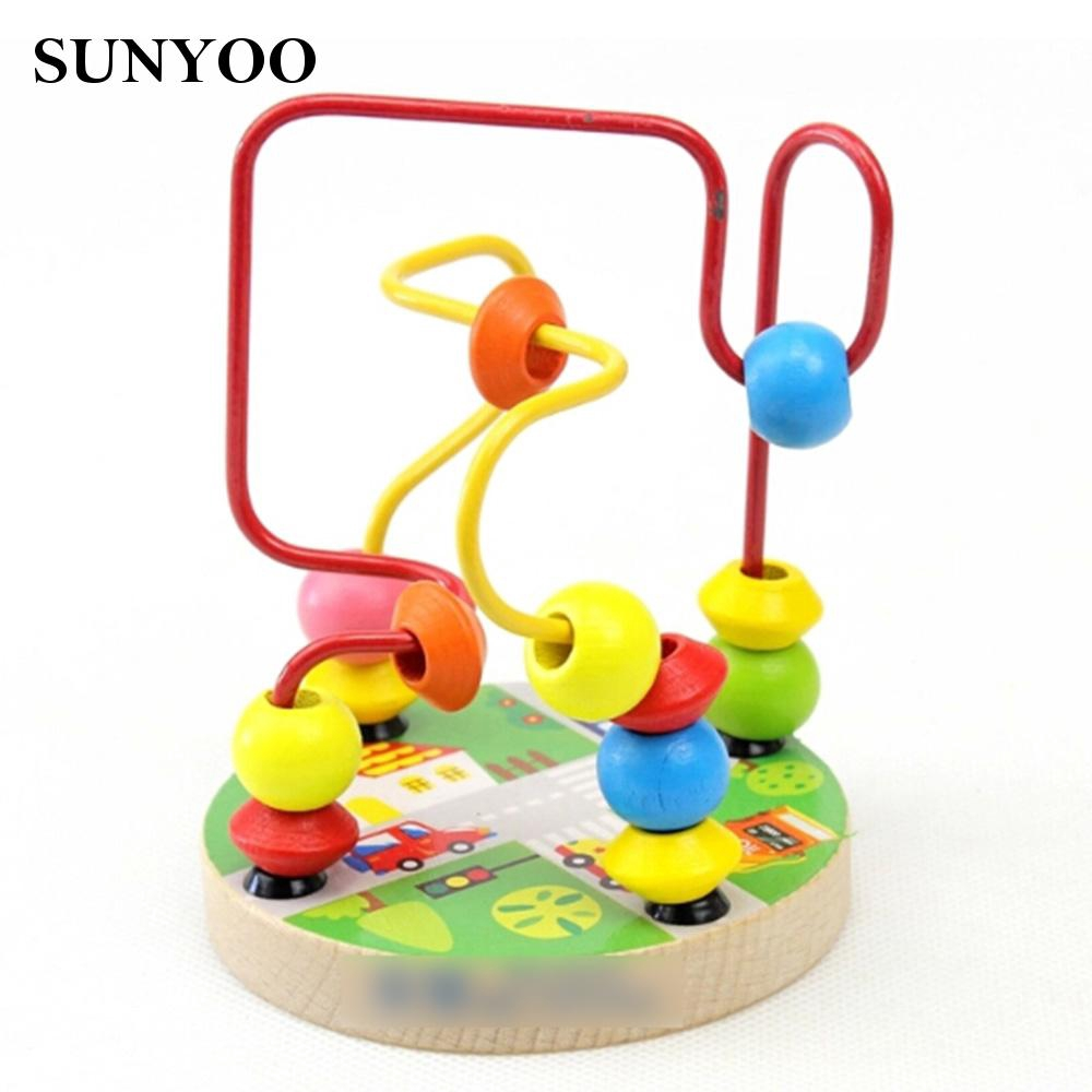 Around Beads Maze Mini Toy Intellect Children Wood Educational Game Excellent