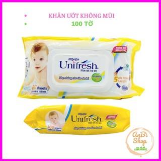 Khăn ướt UNIFRESH 100 tờ vitamin E – không mùi không chất bảo quản