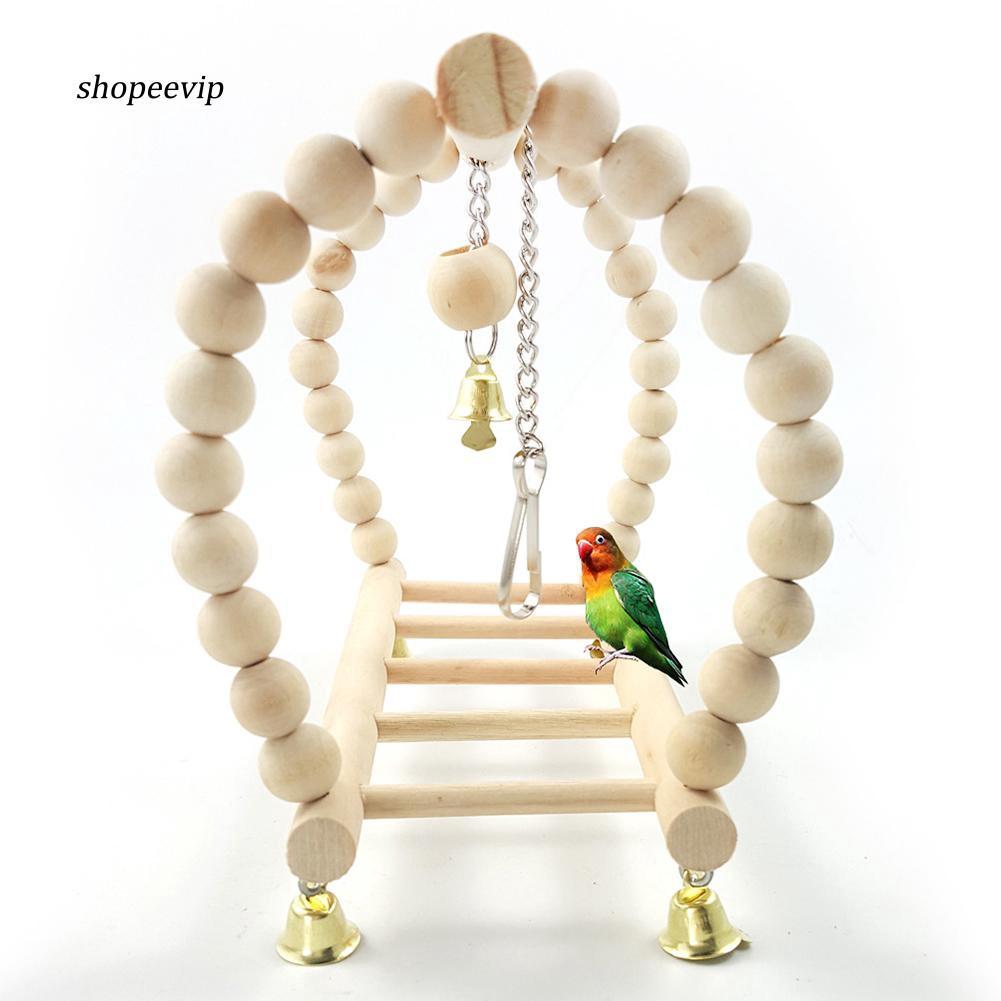 SPVP_Bird Parrot Cockatiel Hanging Suspension Bridge Swing Ladder Climbing Cage Toys