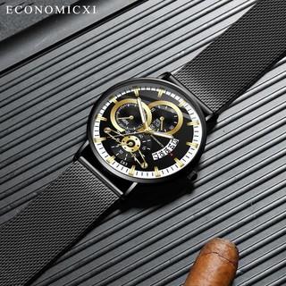 [HÀNG MỚI VỀ 2021] Đồng hồ nam cao cấp ECONOMICXI mặt kính cường lực, dây lụa đen sang trọng.