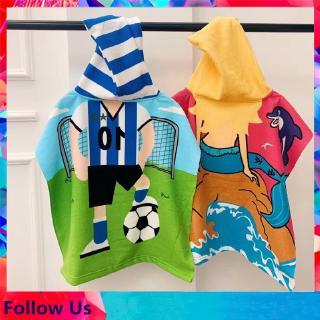Children s Hooded Bath Towel Cape Cartoon Printed Bathrobe Beach Towel Wearable Towel Cape thumbnail