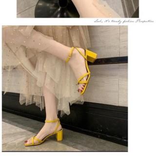 Giày sandal phối dây chéo nữ 7p - Giày cao gót siêu hot, êm chân, nhiều màu, mẫu mới 2020