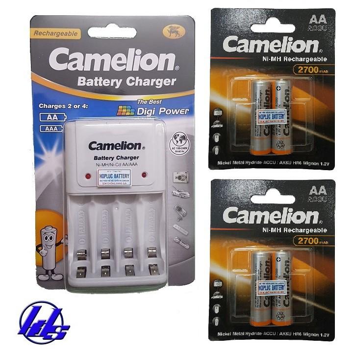 Combo bộ sạc pin AA, AAA Camelion BC-1010B kèm 4 pin sạc AA 2700mAh Recharge Accu