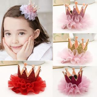 Children Crown Hairpin Artificial Pearl Inlay Girls Headwear Flower Hair Clip Kids Princess Sweet