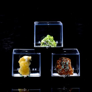 amleso* 3x3x3.5cm Transparent Dustproof Display Case for Rock & Mineral Collection