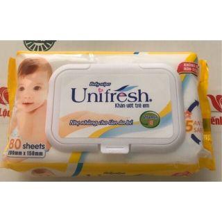 Khăn ướt em bé Unifresh 80 tờ xanh & vàng