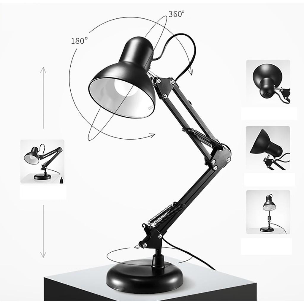 Đèn bàn học đèn để bàn đèn làm việc đèn kẹp bàn kim loại hiện đại
