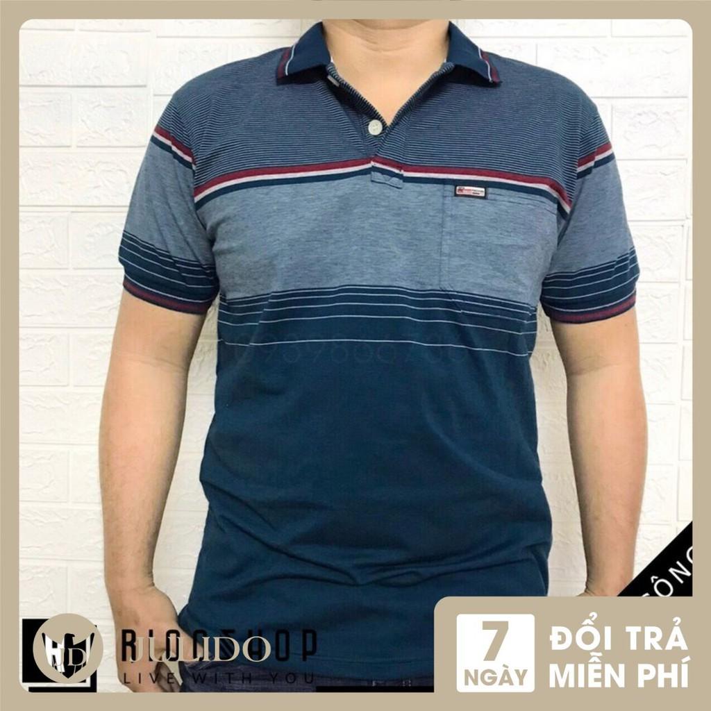 Áo thun Polo nam có túi trung niên cổ bẻ vải cá sấu Cotton xuất xịn, chuẩn đẹp, nhiều màu
