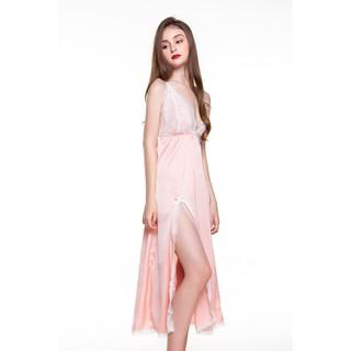 DREAMY VD04-54 Váy ngủ lụa cao cấp dáng xòe hai dây cột cổ màu Hồng Pastel thumbnail