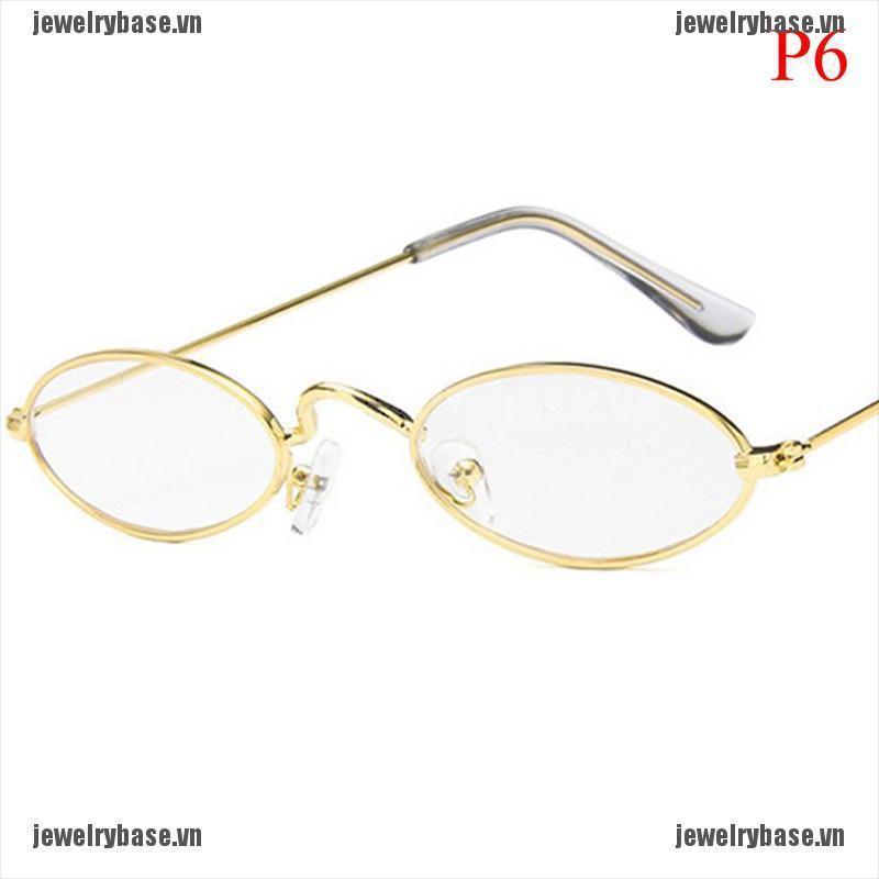 [Jewelry] Women Men Fashion Vintage Oval Sunglasses Brand Small Slim Lens Sun Glasses [Basevn]