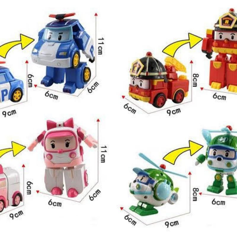 Hộp 4 con biệt đội robocar poli biến hình thành robot, ô tô , Giúp Bé Kích Thích Trí Tuệ