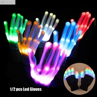 LAYOR 1/2pcs Colorful Creative Luminous Xmas Dance Rave Festive Party Supplies Flashing Glove