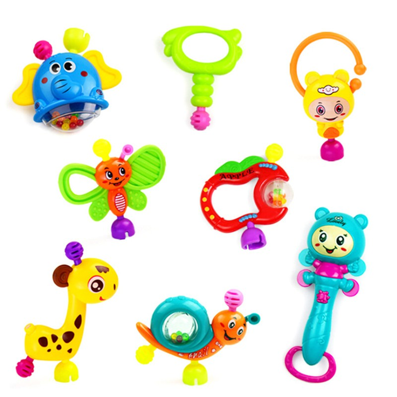 adore 8Pcs Newborn Baby Lovely Hand Jingle Shaking Bell Ring Rattles Baby Toys craving