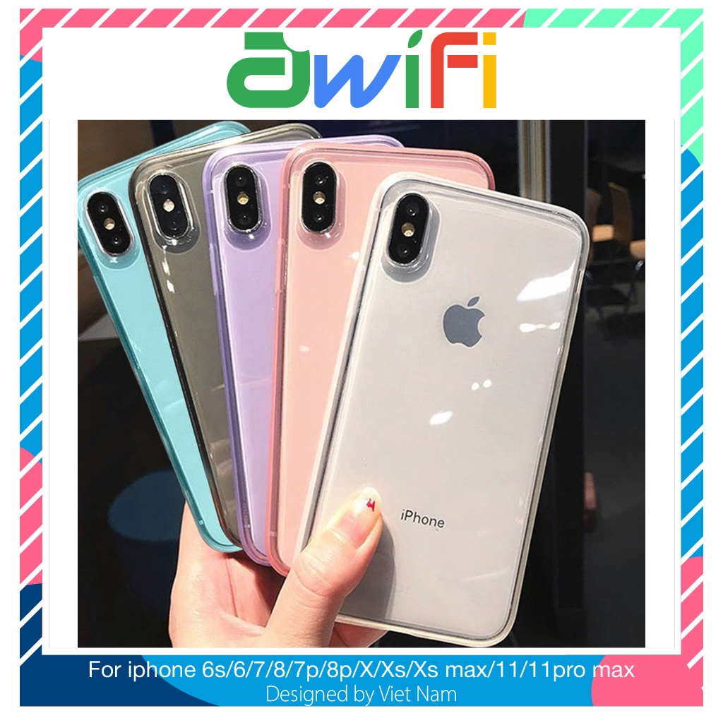 Ốp iphone - Ốp lưng trong suốt siêu dày viền mờ 6s/6plus/6splus/7/8/7plus/8plus/x/xs/xsmax/11/11promax- Awifi Case H1-1