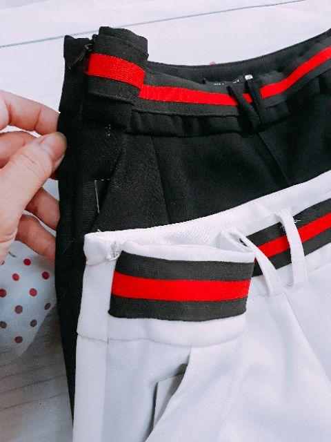 Quần baggy đai đỏ khóa sườn (màu đen)