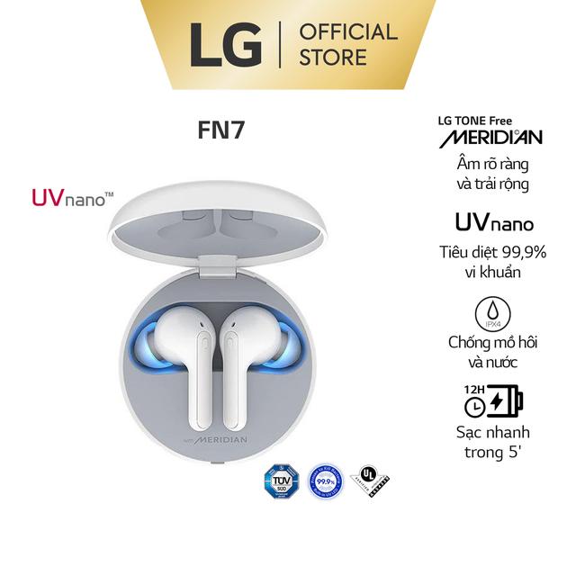 LG Tone Free HBS-FN7 -Màu Trắng-Tai Nghe Không Dây Chống ồn chủ động,diệt khuẩn UV