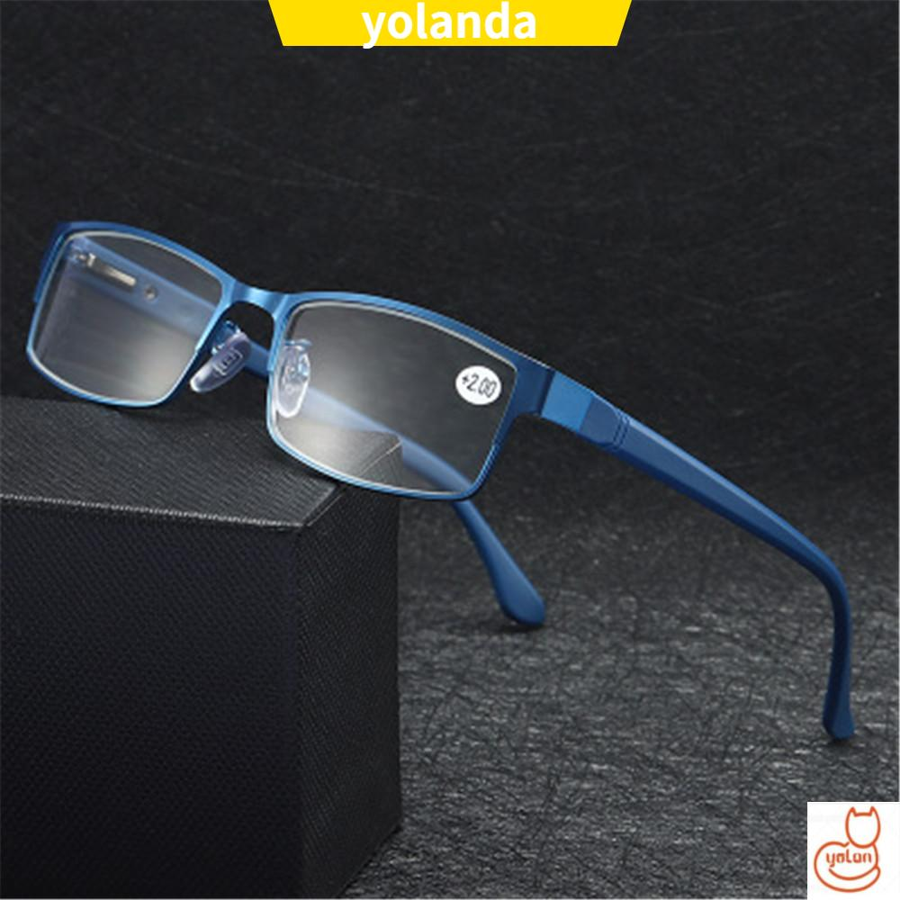 ☆YOLA☆ Men Eyeglasses Magnifying +1.00~+4.0 Diopter Business Reading Glasses Flexible Portable Metal Titanium Alloy New Fashion Ultra Light Resin Eye wear Vision Care/Multicolor