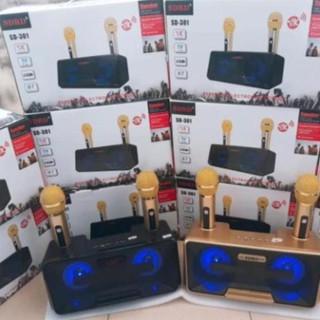 Loa Karaoke SD 301 Kèm 2 Micro Không Dây Có Đèn Led Nằm Bên Trong Loa – Loa Kẹo Kéo SD-301 Tặng Kèm 2 Micro Không Dây