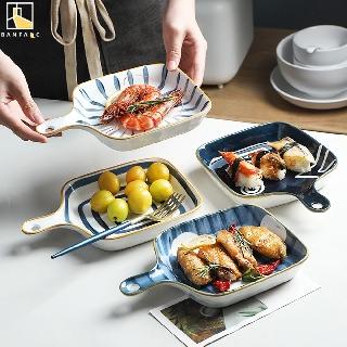 Đĩa đựng thức ăn BANFANG bằng gốm sứ có tay cầm kiểu dáng sang trọng