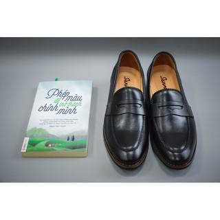 Giày lười công sở da trơn màu đen (HM-177)