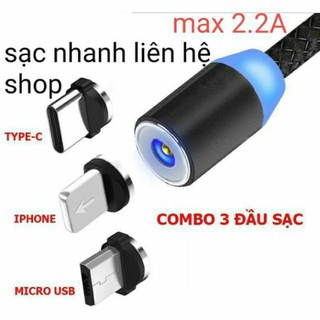 Dây Cáp Sạc Nhanh 2A Android- Cáp Sạc Nam Châm 3 Đầu Iphone | micro USB | Type C Xoay 360 Độ Dây Dù Có LED Cao Cấp