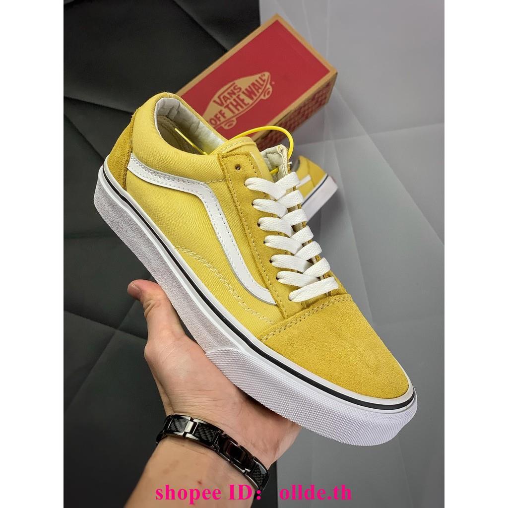 Vans Style 36รองเท้าผ้าใบชายและหญิงสีเหลืองอ่อน