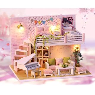 Mô hình nhà búp bê gỗ – biệt thự hoa anh đào Falling Cherry