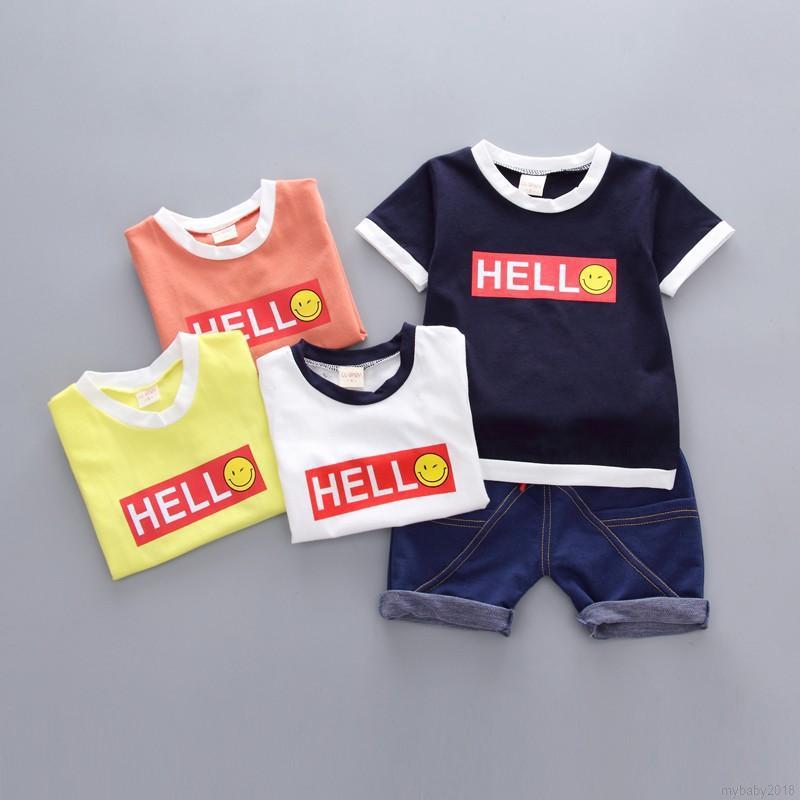 Bộ áo thun + quần ngắn in họa tiết dễ thương cho bé