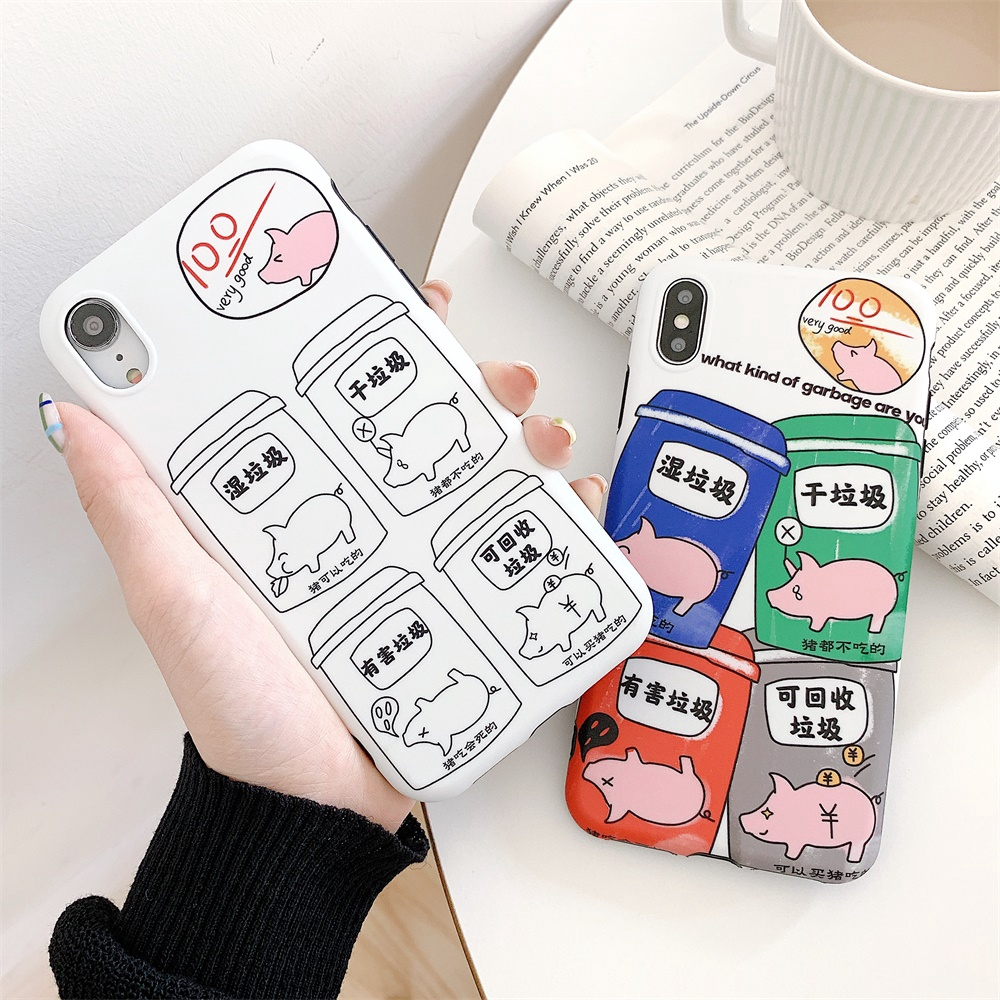7/8 Cute Color Covers XS MAX Soft Case For iPhone 6/6s Plus X/XS XR Cartoon White