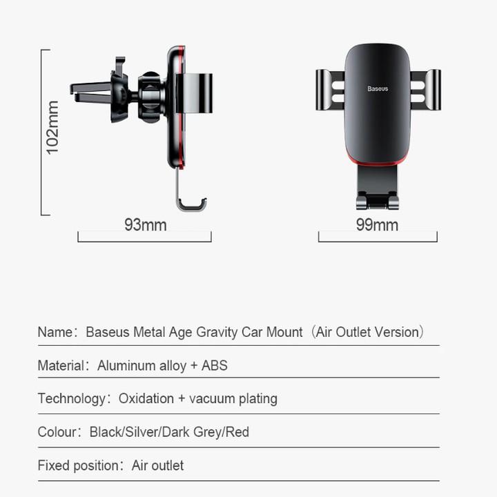 Giá đỡ điện thoại nhãn hiệu Baseus gắn trên cửa gió điều hòa ô tô, xe hơi SUYL-D01 xoay 360º