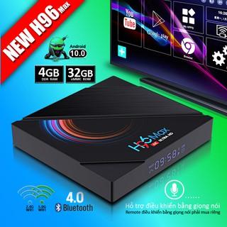 Android tivi box bộ nhớ 32G,ram 4G,độ phân giải 4K,tìm kiếm giọng nói,bluetooth,băng tần wifi kép,bảo hành 1 năm H96MAX