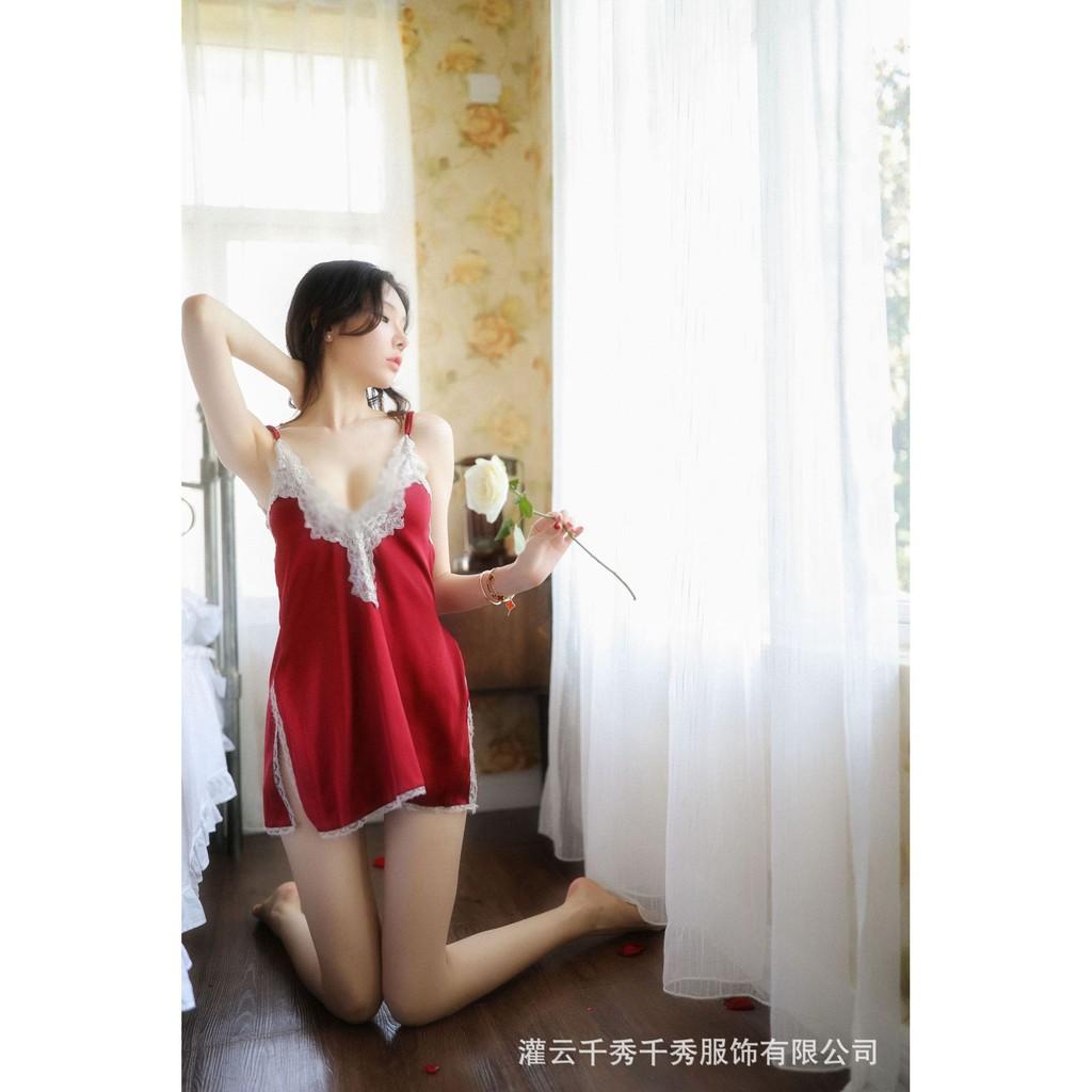 Váy ngủ lụa phối ren sexy gợi cảm tặng kèm quần chip lọt khe siêu quyến rũ G58