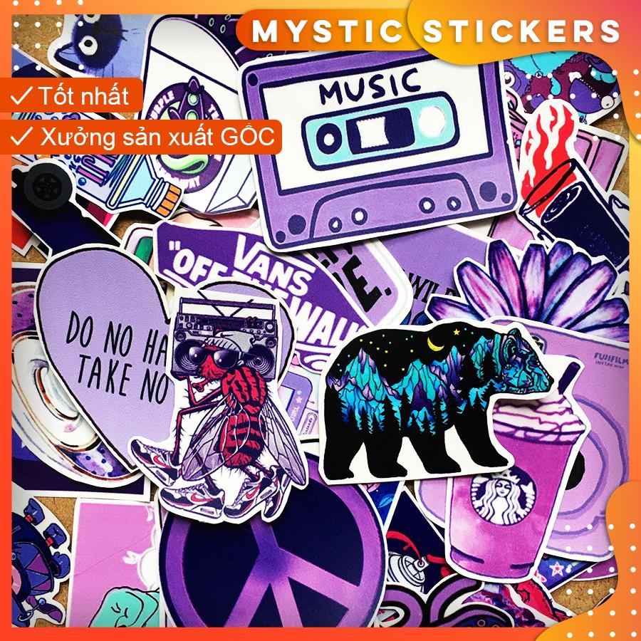 [TÍM PURPLE] 38 Sticker chống nước/Hình dán/Decal trang trí, dán xe laptop mũ bảo hiểm vali...