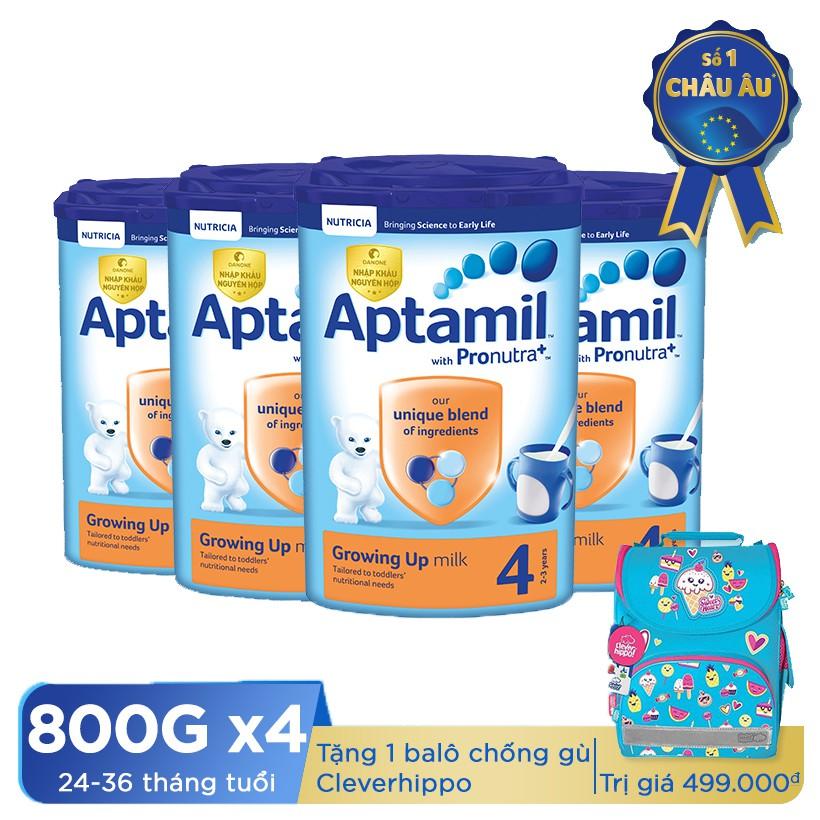 Mua 4 hộp sữa dinh dưỡng công thức Aptamil số 4 (800g) - Tặng 1 balô chống gù Cleverhippo