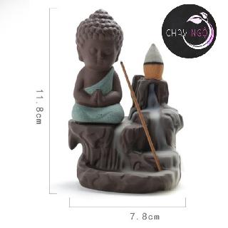 Thác Khói Trầm Hương Gốm Cao Cấp - Phật Tọa Bên Suối 8
